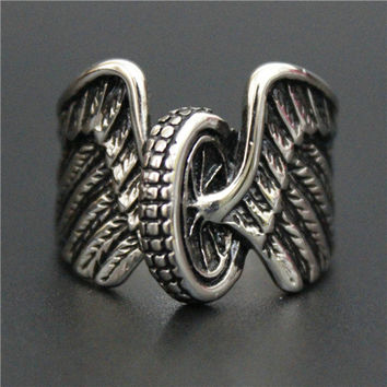 Stainless Steel Tire With Wings Ring