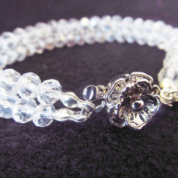 7.5 Inch Double Strand Flower Bracelet - White / Clear Crystal Bracelet - Silver Flower Clasp Bracelet - Handmade Jewelry - Gifts for Her