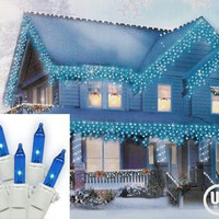 Blue Icicle Christmas Lights - 100 Bulbs On White Wire