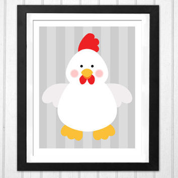 Chicken nursery print wall decor PRINTABLE poster