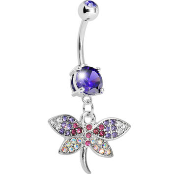 Tanzanite CZ Multi-Color Dragonfly Belly Ring