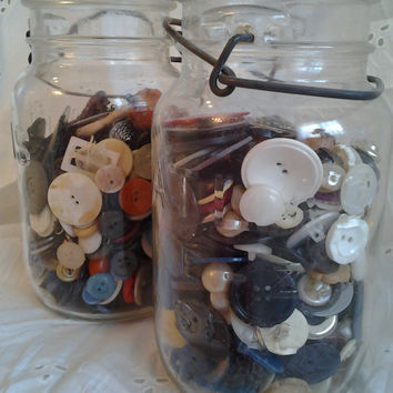2 vintage Canning Jars filled w/ Vintage Buttons, mother of pearl, bakelite, rhinestones, beautiful