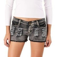 Jessie G. Women's Low Rise Destructed Denim Short Shorts