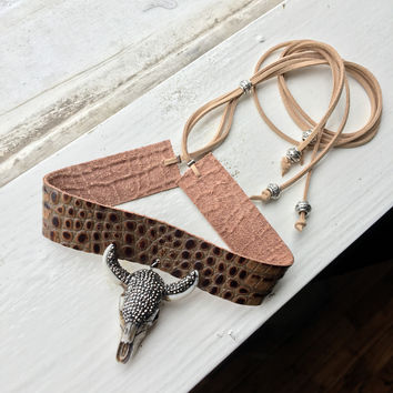 Bling Bull Leather Choker