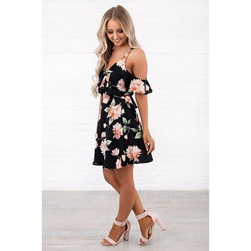 Language Of Love Floral Wrap Dress (Black)
