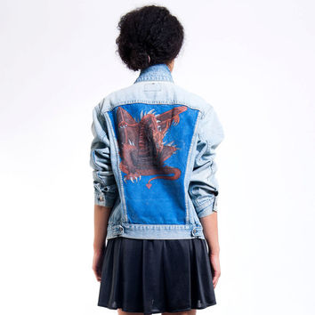 The Vintage Fantasy Dragon Back Levi's Jacket by rerunvintage
