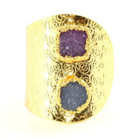 Geometric Shapes Druzy Crystal Wrap Ring Circle Square Geode Gold Tone RK39 Cocktail Statement Jewelry