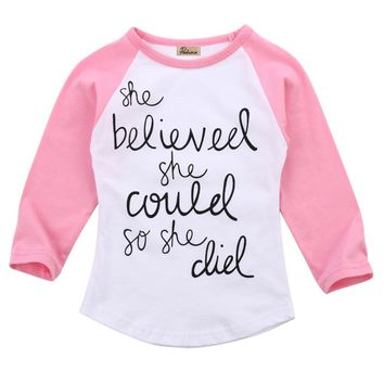 """She Believed She Could"" Long Sleeve Cotton T-shirt 1-6Y"