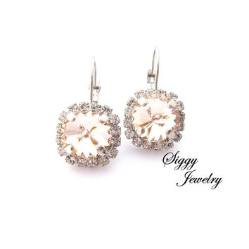 Swarovski crystal halo earrings, Champagne Silk with clear accents, BRIDAL rhodium plated drop dangle earrings, Siggy wedding jewelry