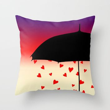 Never Mind The Rain Throw Pillow by oursunnycdays