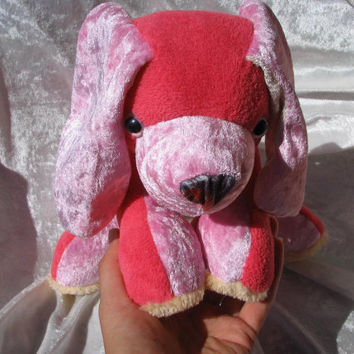 Strawberry Cranberry Spaniel CUDDLY PUPPY with Sparkling Eyes - red pink Dog Animal soft stuffed plush - designed and made in Berlin-Germany