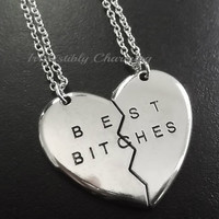 2pcs Best Bitches silver plated necklaces.....choose your length item No.821