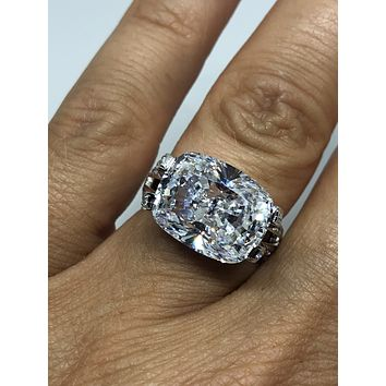 A Flawless 8.8CT Cushion Cut East West Russian Lab Diamond Ring