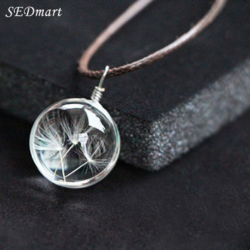 SEDmart 2016 Fashion Crystal Glass Ball Dandelion Pendant Necklace Leather Chain Clover Four Leaf Wish Necklace Jewelry Women
