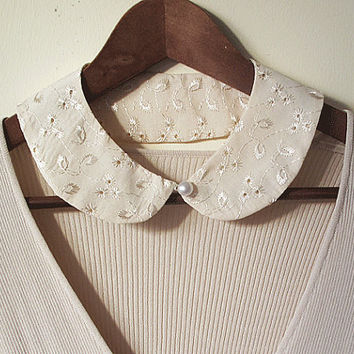 back to school bip collar necklace-faux collar-sand beige bip necklace
