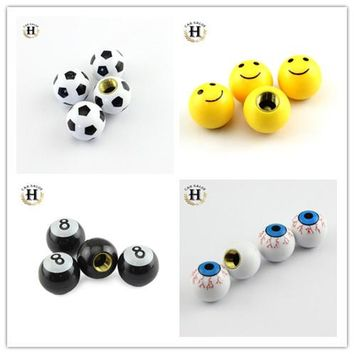 4pcs Car Truck Bike Tire air Valve Stem Caps Smile face Wheel Rims For Bicycle Cycling Motorcycle