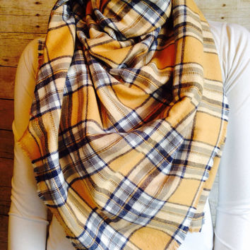 Plaid Blanket Scarf, Tan and Grey/Blue Soft Cotton Flannel Wrap, Fringed Oversized Scarf, Tartan Wrap