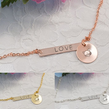 Cat Kitten Personalized Bar Disc Coin Necklace Bracelet Anklet Delicate Hand Stamped Jewelry
