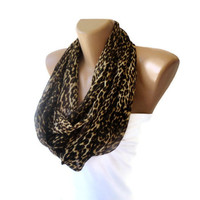 eternity women leopard print scarf , infinity loop scarf , scarves , cheetah print , animal prints, chiffon fabric, for her