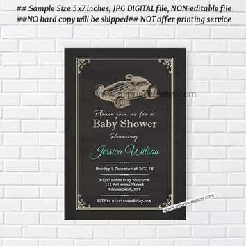 baby shower invitation, race car baby shower, vintage invitation, boy baby shower invitation Retro Rustic invitation  - card 131