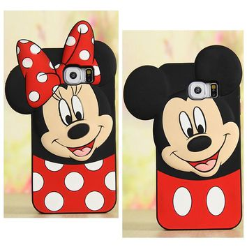 Cute 3D Cartoon Mickey Minnie Mouse Lovers Phone Case for Samsung Galaxy Note 3 Note 4 Note 5 Soft Silicone Cover Coque Fundas