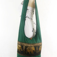 Elephant Boho bag-Hippie Hobo Bag Women handbags Sling Cotton gypsy bohemian Crossbody bag Shoulder Messenger bag Tote Purse DarkGreen