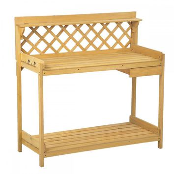 Potting Bench Outdoor Garden Work Bench Station Planting Wood Construction 114