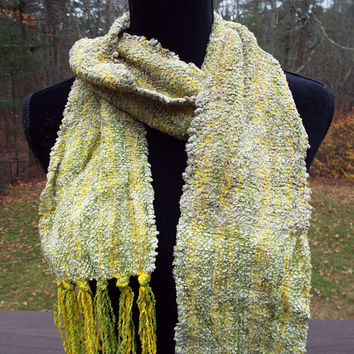 Green and Yellow Scarf, Handwoven Scarf with Super Soft Chenille Yarn, Mens Scarf, Womens Scarf, Handmade accessory, Hand Weaving