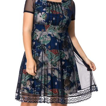 Streetstyle  Casual Square Neck Sequin Hollow Out Plus Size Flared Dress In Butterfly Printed
