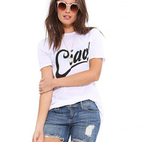 White T-Shirt with Ciao Print