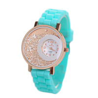 Womens Silicone Jelly Strap Watches with Diamond Fashion Girls Casual Sports Watch Best Christmas Gift