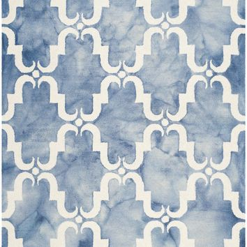 Dip Dye Contemporary Indoor Area Rug Blue / Ivory