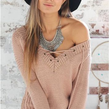Sexy V-neck Drawstring long sleeve split sweater FT4712