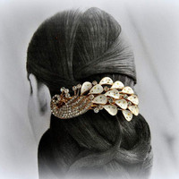 Mad Men Wedding Headpiece Retro Headdress Beaded Hair Clip Simple Gold Chic Peacock Crystal Barette