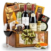 Around the World Wine Chest: Luxury Wine Baskets - An international collection of fine wine and gourmet delights in a keepsake, map-themed trunk.