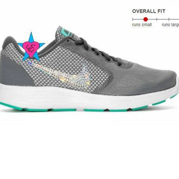 Crystal Bedazzled Gray Teal Nike Revolution 3 Womens Running Shoes
