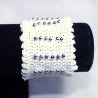 Victorian Style Beaded Hand Crafted Crochet Cuff Bracelet With Silver Beads