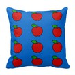 Pillow with Red Apples on Blue Background
