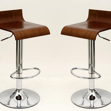 Practical Ludlow Barstool with Height Adjustability in Brown-Set of 2