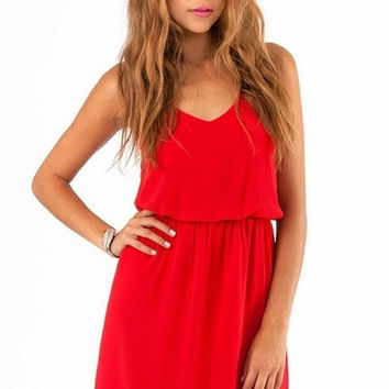 2015 Spring and summer new women dress dual straps chiffon dress Casual sleeveless dress Miniskirt #2015-104 = 1753733252