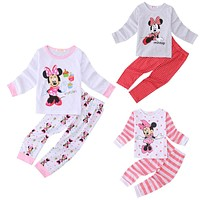 Pajamas Set Sleepwear Tops + Pants Casual Cute Minnie Mouse Baby Kids Girls Clothes Set Size 2T-6T