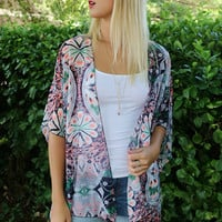 Colors Of The Wind Multiprint Sheer Navy Kimono