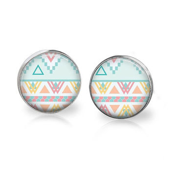 Pastel Aztec Earrings Modern Tribal Pattern Printed Art Studs Geeky Geometric Earring Geometric Jewelry Native Modern Geek Hipster Blue Pink