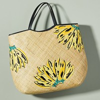 Aranaz Banana-Embroidered Tote Bag