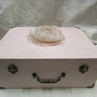 Hand Made Blush Pale Pink Wedding Card Box Muslin Banner Organza Flower Pearl