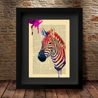 Zebra Art, Home Art Poster, Wall Decor, Zebra  Poster, Zebra watercolor Print, Animal Wall Art, Watercolor Art, Watercolor Print -54