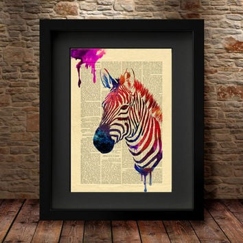 Zebra Art, Home Art Poster, Wall Decor, Zebra Poster, Zebra Watercolor Print