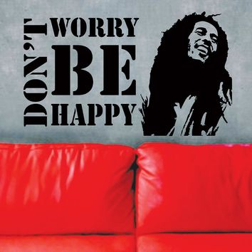 Free shipping Vinyl Wall Decals  Don't Worry Be Happy BOB MARLEY Music Quote Wall Sticker Fashion Home Decor Mural KW-286