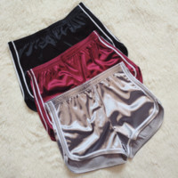 Satin Runner Shorts (Burgundy, Silver, Black) - Women Casual Running Yoga Sports Shorts Gym Workout Waistband Hot Pants