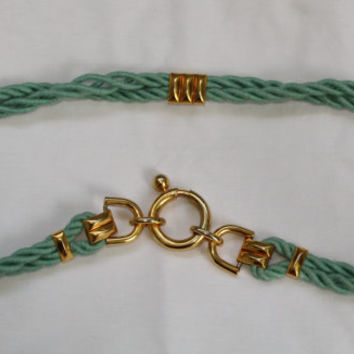 Vintage 80's Nautical Rope Belt - Turquoise With Gold Accents